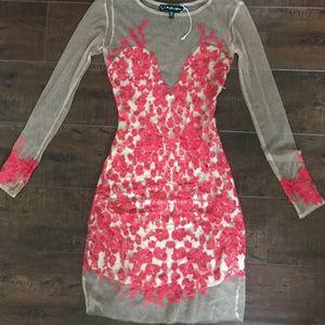 For love and lemons red mesh dress